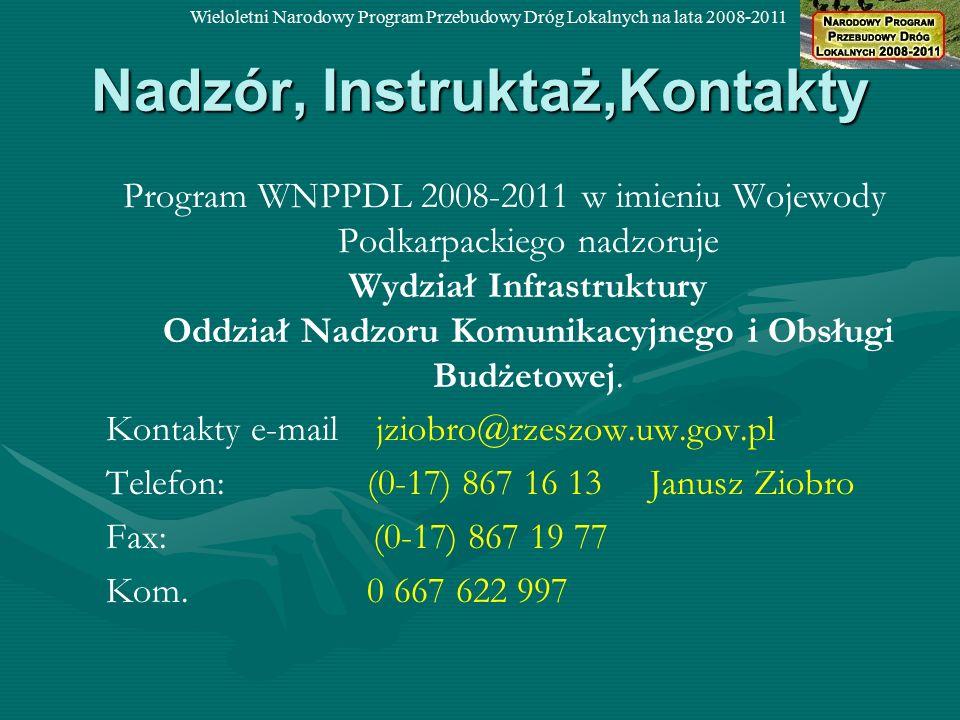 Nadzór, Instruktaż,Kontakty Program WNPPDL 2008-2011 w imieniu Wojewody Podkarpackiego nadzoruje Wydział Infrastruktury Oddział Nadzoru Komunikacyjnego i Obsługi Budżetowej.