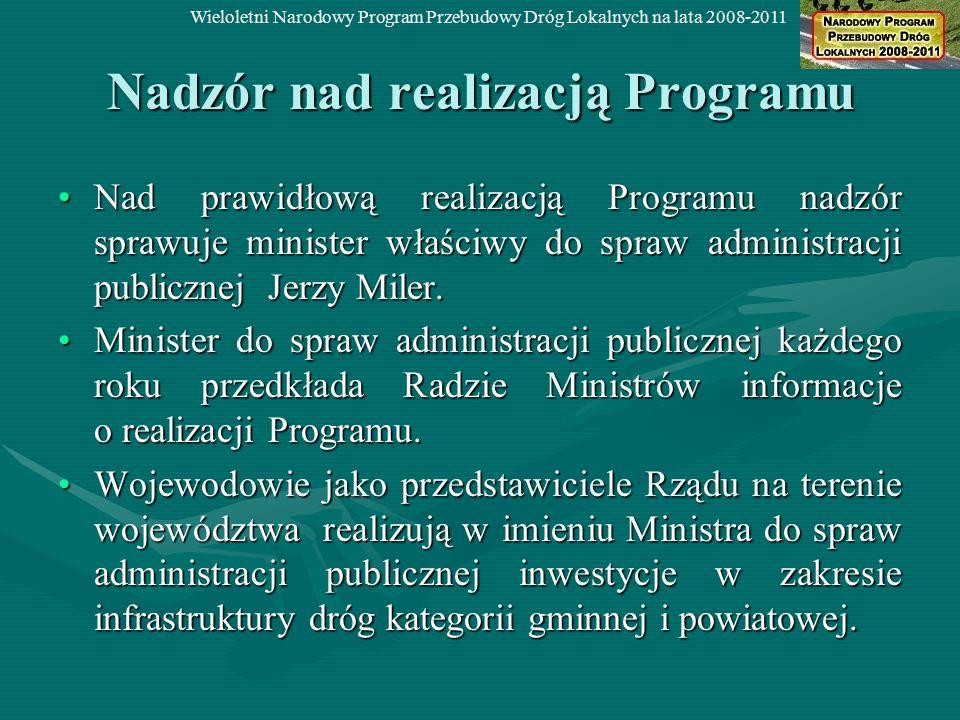 Nadzór nad realizacją Programu Nad prawidłową realizacją Programu nadzór sprawuje minister właściwy do spraw administracji publicznej Jerzy Miler.Nad
