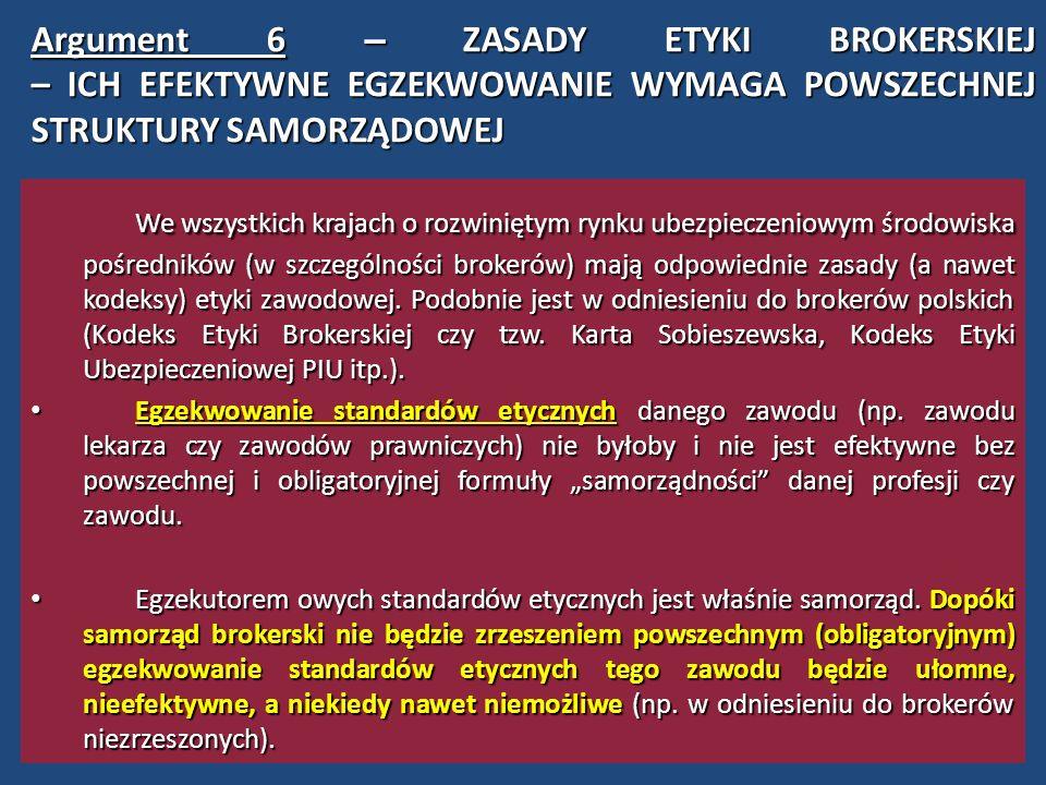 A rgument 7 – ORGANIZACJA I KOORDYNACJA JEDNOLITEGO SYSTEMU SZKOLEŃ (PODNOSZENIA KWALIFIKACJI ZAWODOWYCH) Zarówno Dyrektywa UE w sprawie Pośrednictwa Ubezpieczeniowego z 9 XII 2002 r., jak i polska ustawa o pośrednictwie ubezpieczeniowym nakłada na brokerów (także agentów) obowiązek stałego doskonalenia zawodowego (zob.