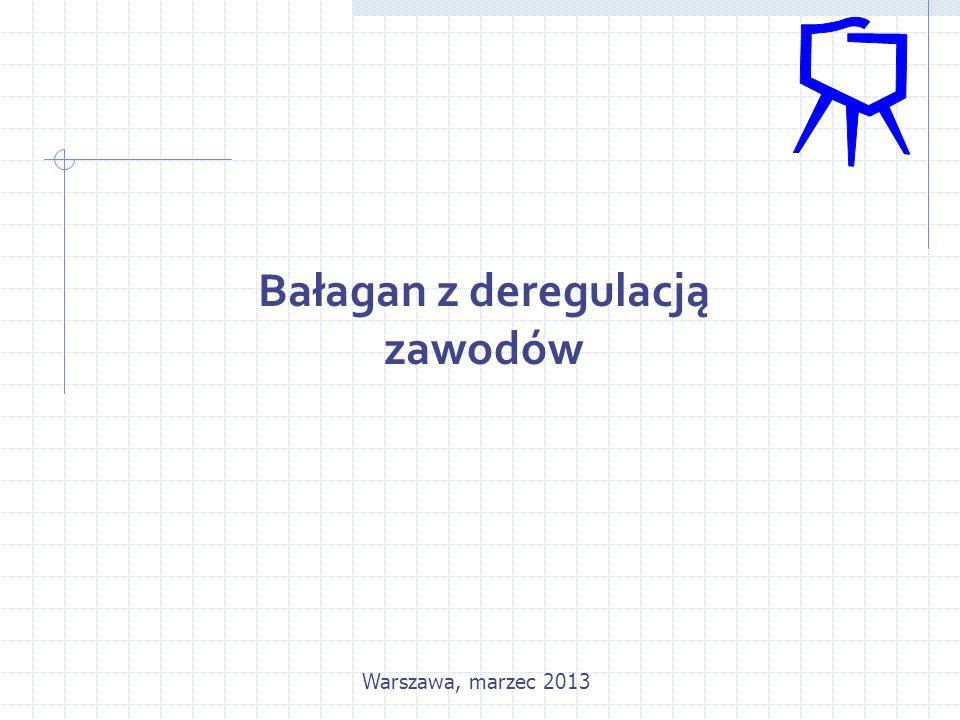 Bałagan z deregulacją zawodów Warszawa, marzec 2013