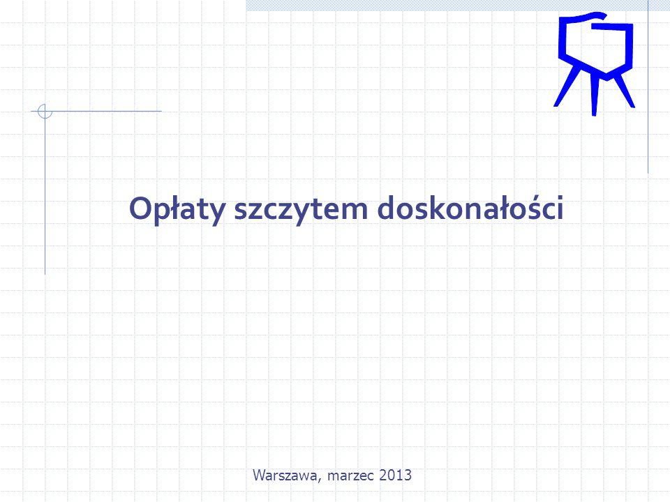 Opłaty szczytem doskonałości Warszawa, marzec 2013