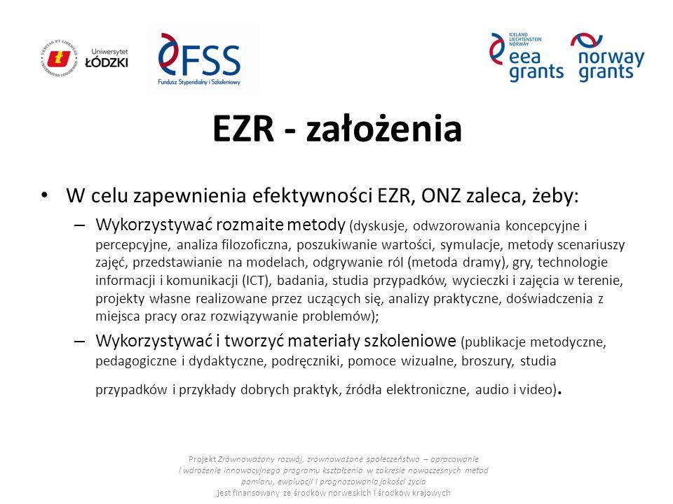 EZR - założenia W celu zapewnienia efektywności EZR, ONZ zaleca, żeby: – Wykorzystywać rozmaite metody (dyskusje, odwzorowania koncepcyjne i percepcyj