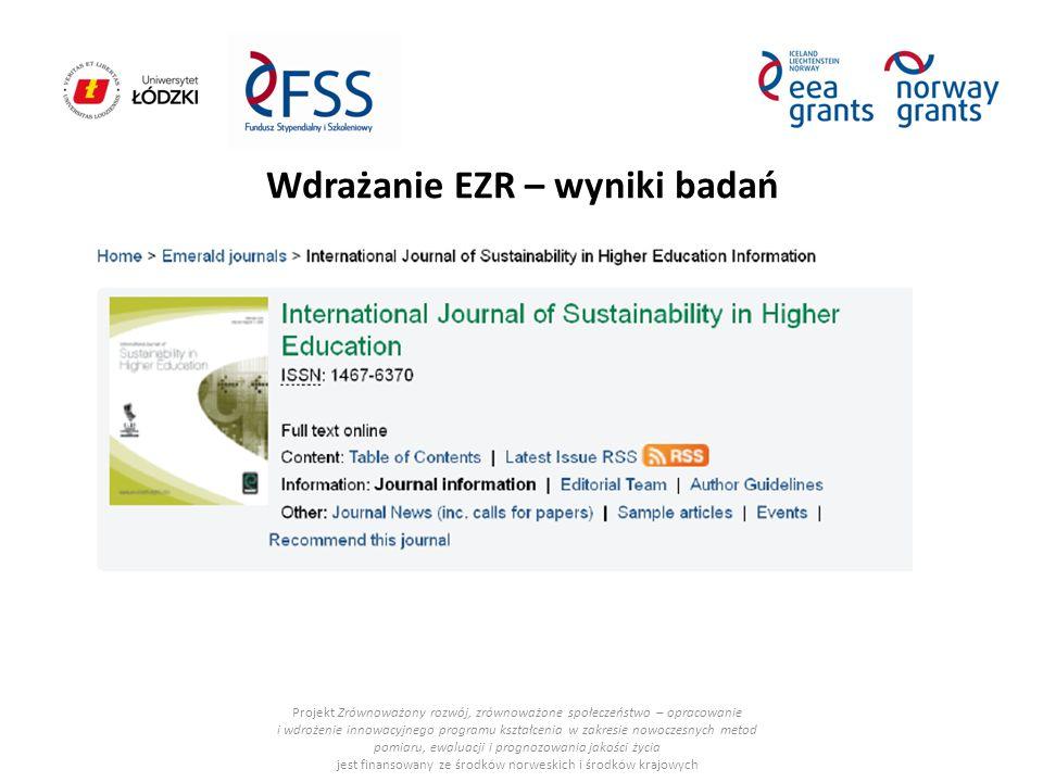Wdrażanie EZR – wyniki badań