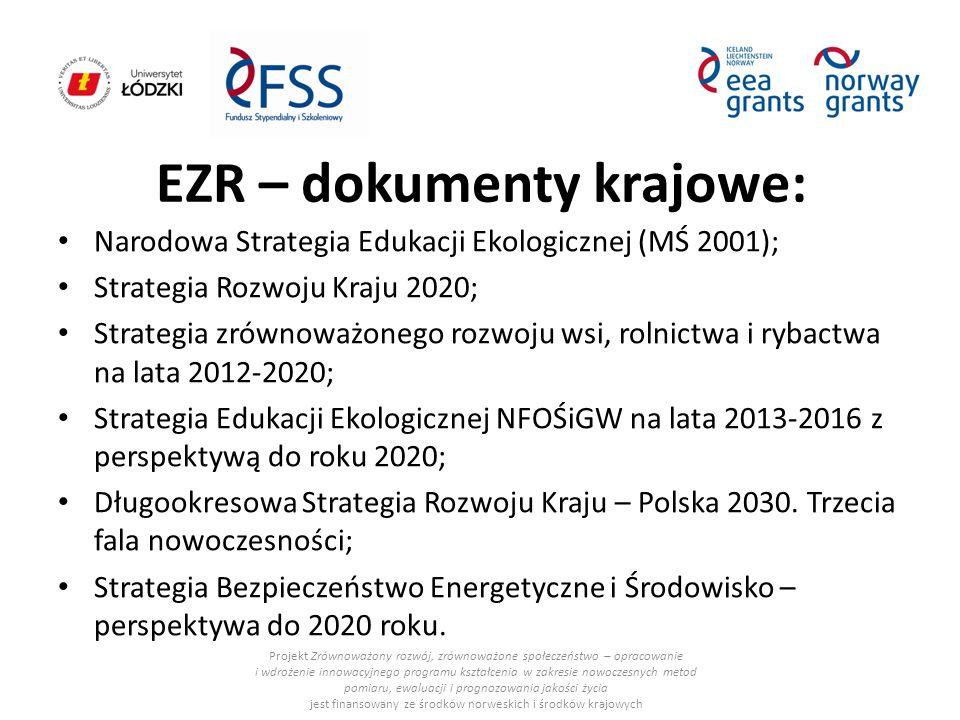EZR – dokumenty krajowe: Narodowa Strategia Edukacji Ekologicznej (MŚ 2001); Strategia Rozwoju Kraju 2020; Strategia zrównoważonego rozwoju wsi, rolni