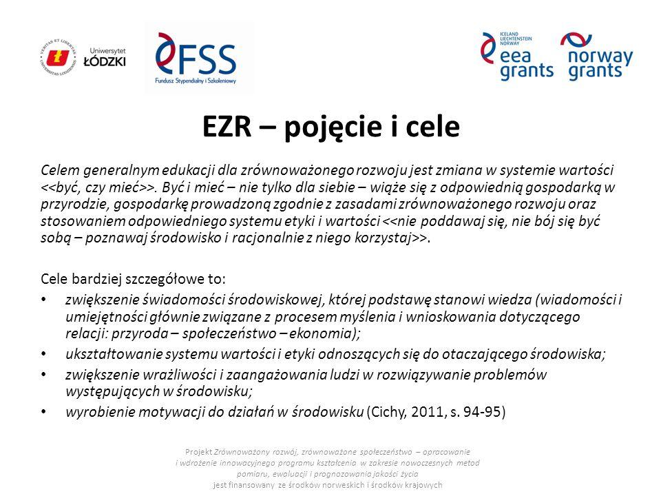 EZR – pojęcie i cele Celem generalnym edukacji dla zrównoważonego rozwoju jest zmiana w systemie wartości >. Być i mieć – nie tylko dla siebie – wiąże