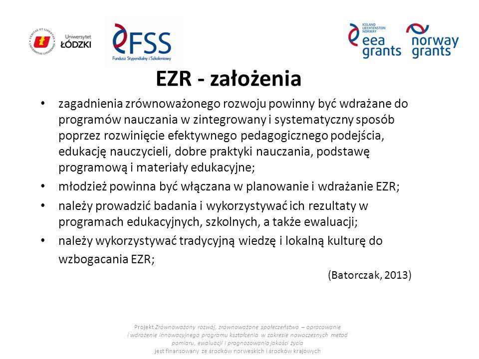 EZR - założenia Projekt Zrównoważony rozwój, zrównoważone społeczeństwo – opracowanie i wdrożenie innowacyjnego programu kształcenia w zakresie nowocz
