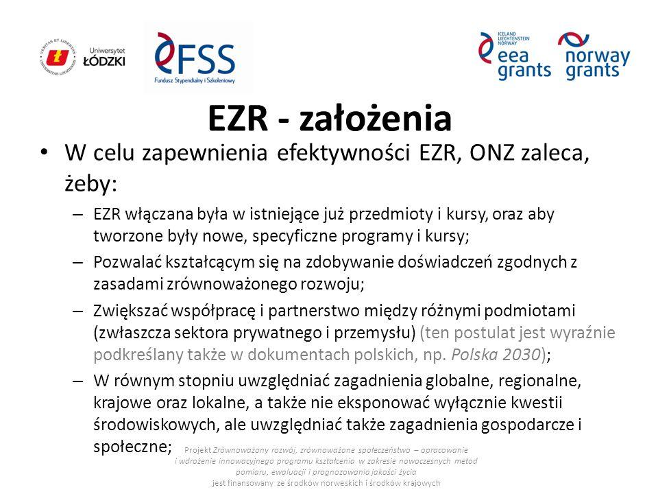 EZR - założenia W celu zapewnienia efektywności EZR, ONZ zaleca, żeby: – EZR włączana była w istniejące już przedmioty i kursy, oraz aby tworzone były