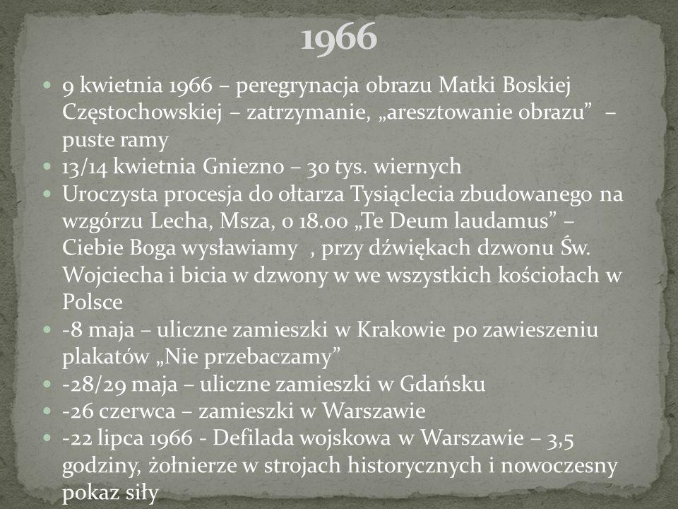 """9 kwietnia 1966 – peregrynacja obrazu Matki Boskiej Częstochowskiej – zatrzymanie, """"aresztowanie obrazu – puste ramy 13/14 kwietnia Gniezno – 30 tys."""