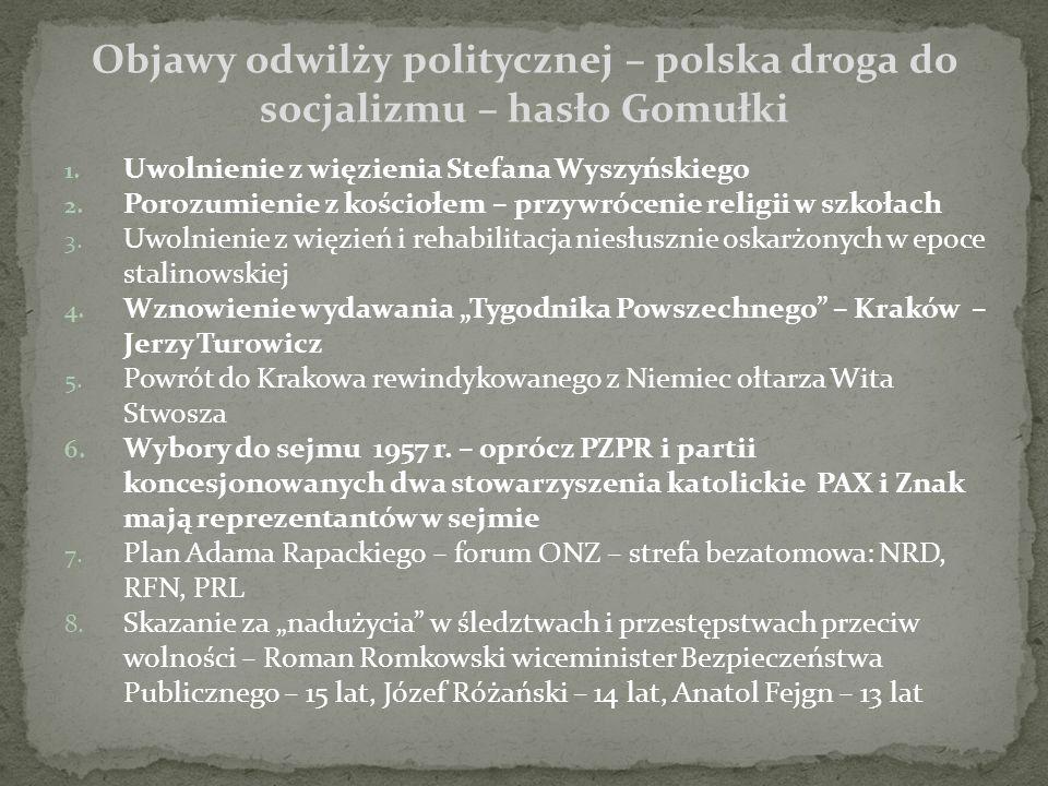 1. Uwolnienie z więzienia Stefana Wyszyńskiego 2.