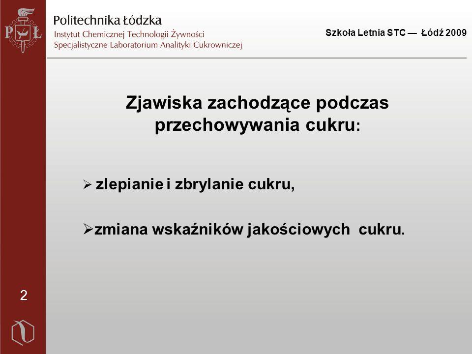 Szkoła Letnia STC — Łódź 2009 3 Na proces zbrylania cukru mają wpływ takie parametry jak:  zawartość wilgoci w cukrze,  temperatura cukru,  równowagowa wilgotność względna powietrza,  wielkość i kształt kryształów,  zawartość inwertu i popiołu.