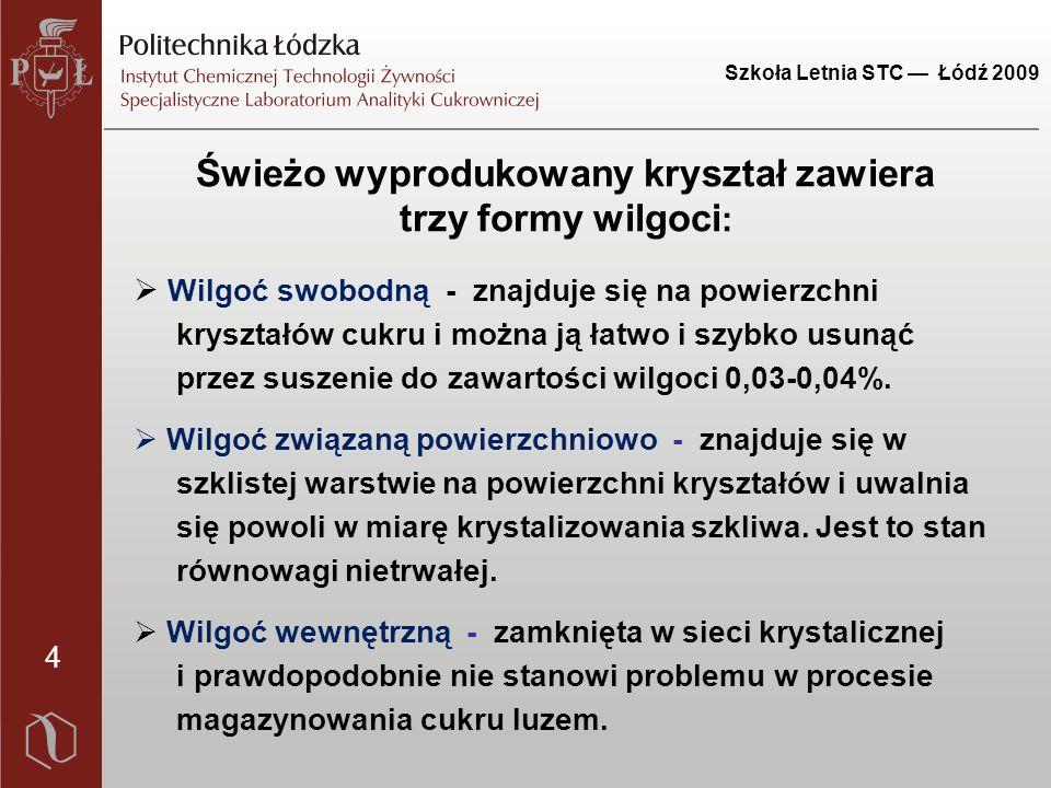 Szkoła Letnia STC — Łódź 2009 25 Wpływ czasu składowania na zmianę wskaźników jakościowych cukru białego Wskaźnik Przed skład.