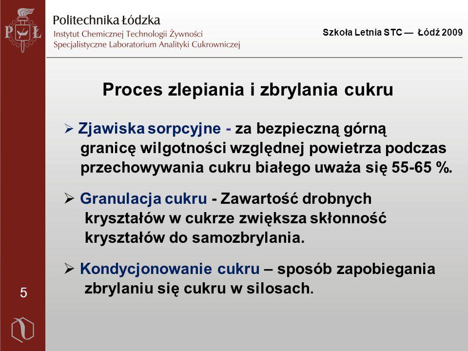 Szkoła Letnia STC — Łódź 2009 5 Proces zlepiania i zbrylania cukru  Zjawiska sorpcyjne - za bezpieczną górną granicę wilgotności względnej powietrza podczas przechowywania cukru białego uważa się 55-65 %.