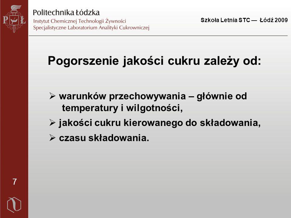 Szkoła Letnia STC — Łódź 2009 28 Wnioski 1.Stwierdzono, że podczas składowania w największym stopniu zmienia się zabarwienie roztworu i kryształów cukru.