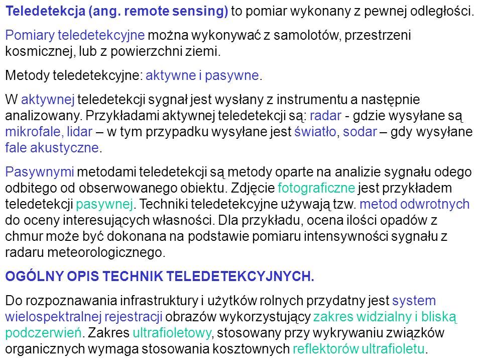 Teledetekcja (ang. remote sensing) to pomiar wykonany z pewnej odległości. Pomiary teledetekcyjne można wykonywać z samolotów, przestrzeni kosmicznej,