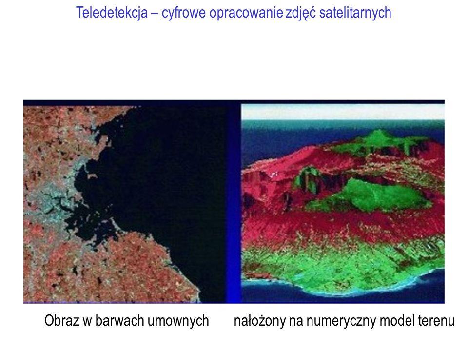 Teledetekcja – cyfrowe opracowanie zdjęć satelitarnych Obraz w barwach umownych nałożony na numeryczny model terenu