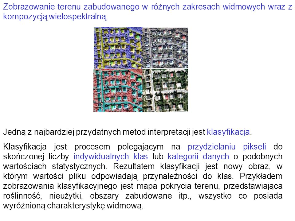 Zobrazowanie terenu zabudowanego w różnych zakresach widmowych wraz z kompozycją wielospektralną.