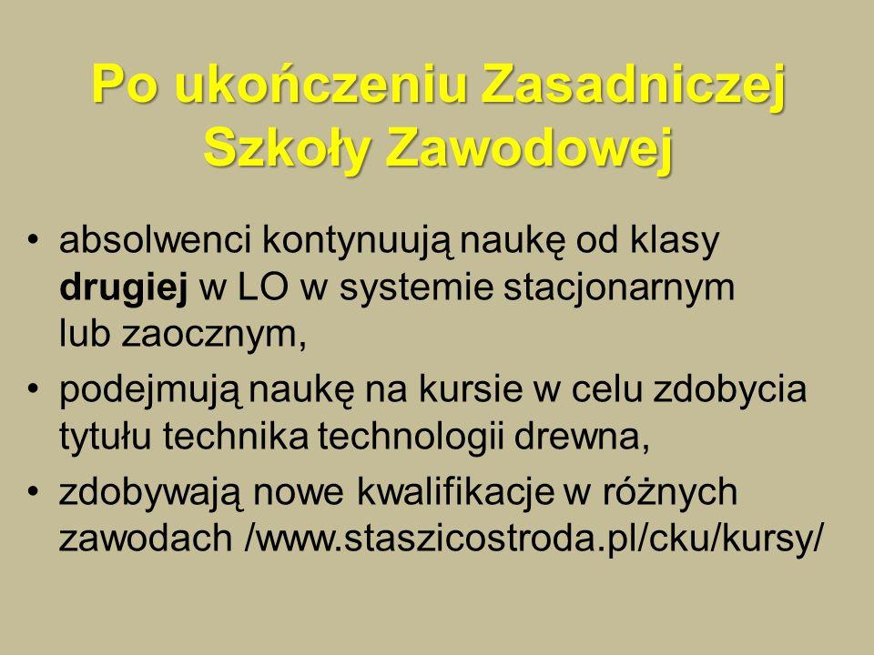 Po ukończeniu Zasadniczej Szkoły Zawodowej absolwenci kontynuują naukę od klasy drugiej w LO w systemie stacjonarnym lub zaocznym, podejmują naukę na kursie w celu zdobycia tytułu technika technologii drewna, zdobywają nowe kwalifikacje w różnych zawodach /www.staszicostroda.pl/cku/kursy/
