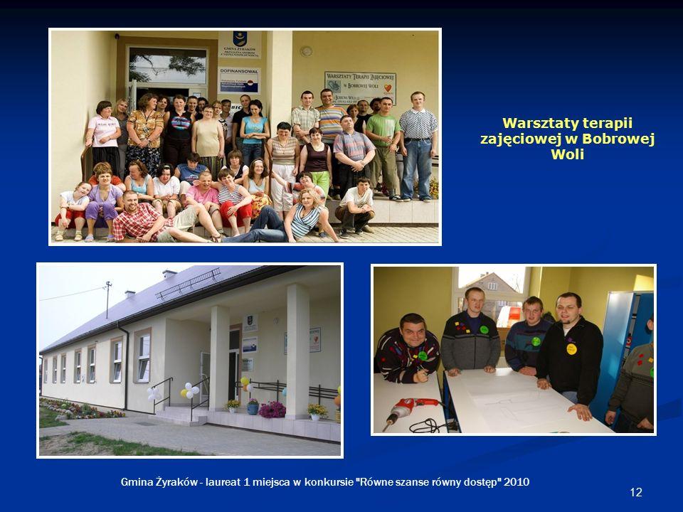 12 Warsztaty terapii zajęciowej w Bobrowej Woli Gmina Żyraków - laureat 1 miejsca w konkursie Równe szanse równy dostęp 2010