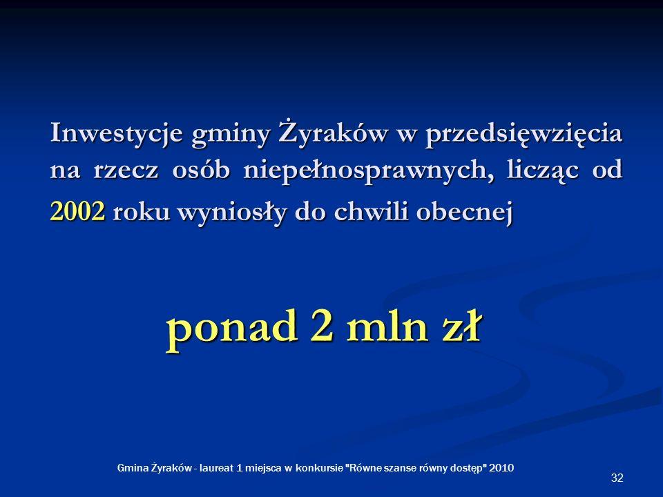 32 Inwestycje gminy Żyraków w przedsięwzięcia na rzecz osób niepełnosprawnych, licząc od 2002 roku wyniosły do chwili obecnej ponad 2 mln zł Gmina Żyraków - laureat 1 miejsca w konkursie Równe szanse równy dostęp 2010
