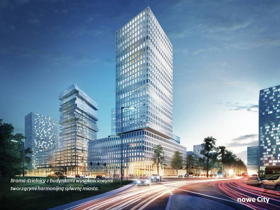 nowe City Brama dzielnicy z budynkami wysokościowymi tworzącymi harmonijną sylwetę miasta.