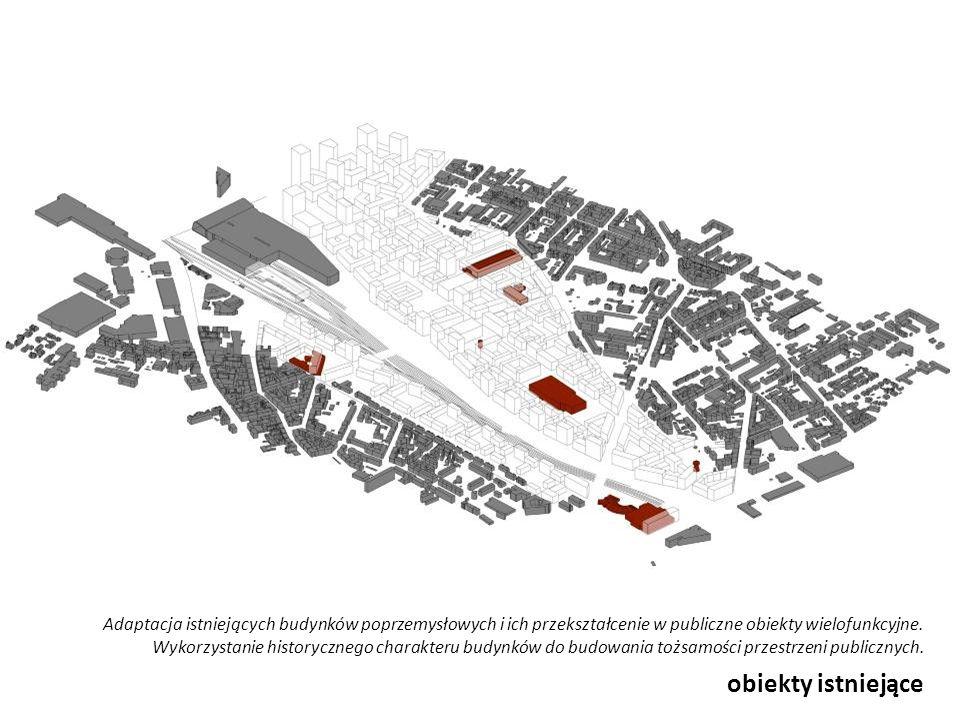 kwartały Zabudowa kwartałowa, pozwalająca na wykreowanie miejskiego charakteru i właściwej hierarchii przestrzeni publicznych i półpublicznych jako podstawowa forma tkanki miejskiej.