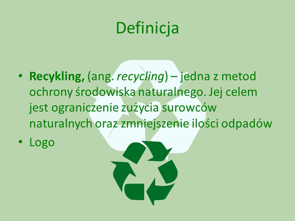 Definicja Recykling, (ang. recycling) – jedna z metod ochrony środowiska naturalnego.