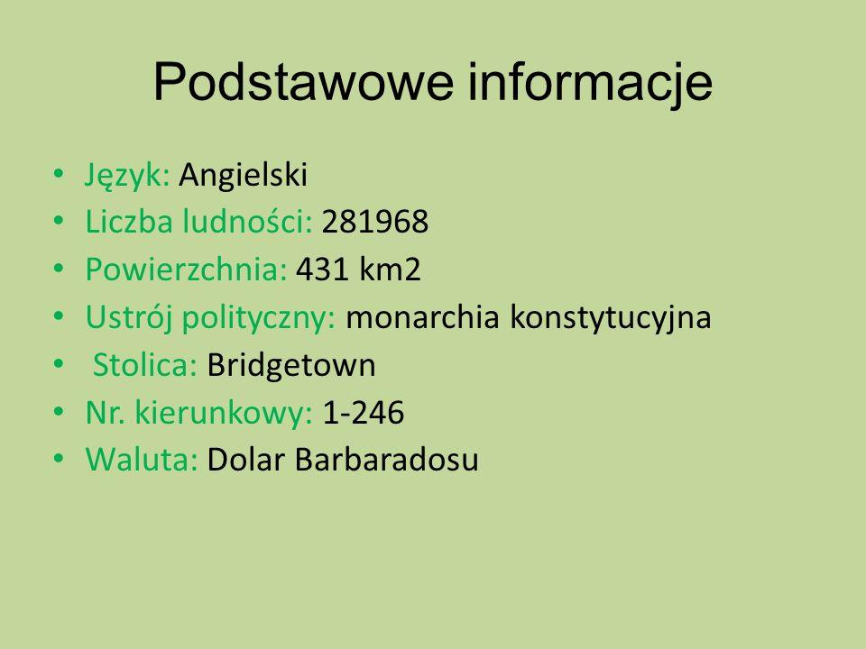 Podstawowe informacje Język: Angielski Liczba ludności: 281968 Powierzchnia: 431 km2 Ustrój polityczny: monarchia konstytucyjna Stolica: Bridgetown Nr