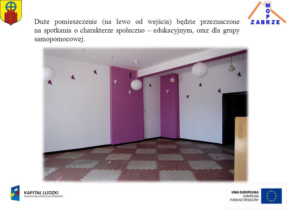 Duże pomieszczenie (na lewo od wejścia) będzie przeznaczone na spotkania o charakterze społeczno – edukacyjnym, oraz dla grupy samopomocowej.