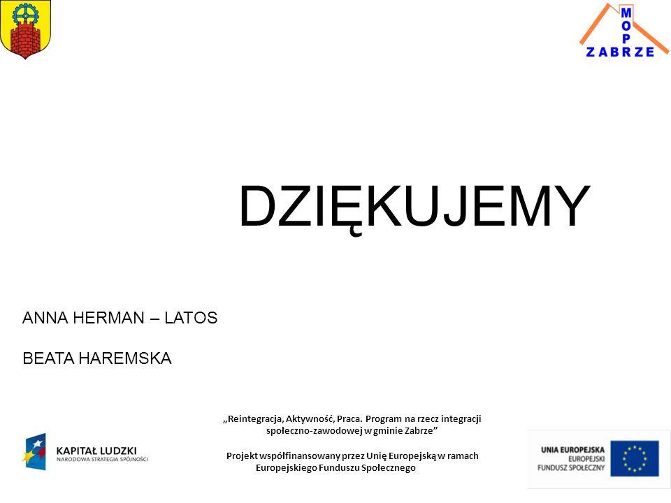 """DZIĘKUJEMY ANNA HERMAN – LATOS BEATA HAREMSKA """"Reintegracja, Aktywność, Praca. Program na rzecz integracji społeczno-zawodowej w gminie Zabrze"""" Projek"""