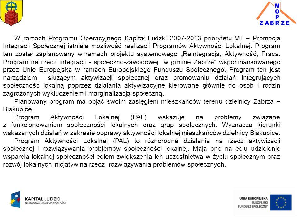 W ramach Programu Operacyjnego Kapitał Ludzki 2007-2013 priorytetu VII – Promocja Integracji Społecznej istnieje możliwość realizacji Programów Aktywności Lokalnej.