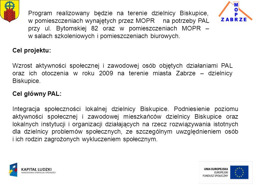 Cel projektu: Wzrost aktywności społecznej i zawodowej osób objętych działaniami PAL oraz ich otoczenia w roku 2009 na terenie miasta Zabrze – dzielnicy Biskupice.