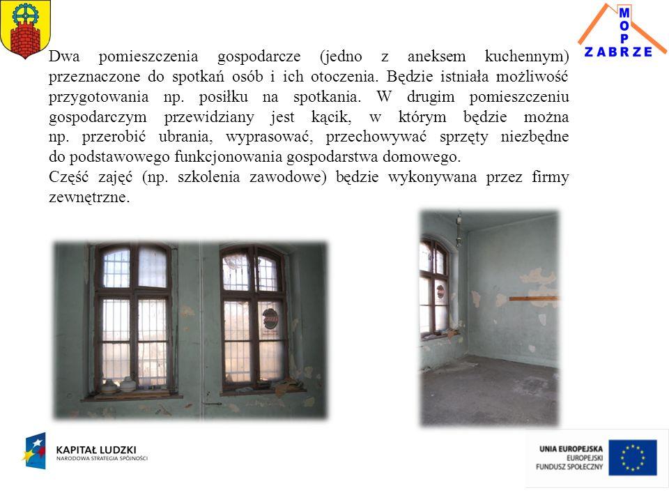 Dwa pomieszczenia gospodarcze (jedno z aneksem kuchennym) przeznaczone do spotkań osób i ich otoczenia. Będzie istniała możliwość przygotowania np. po