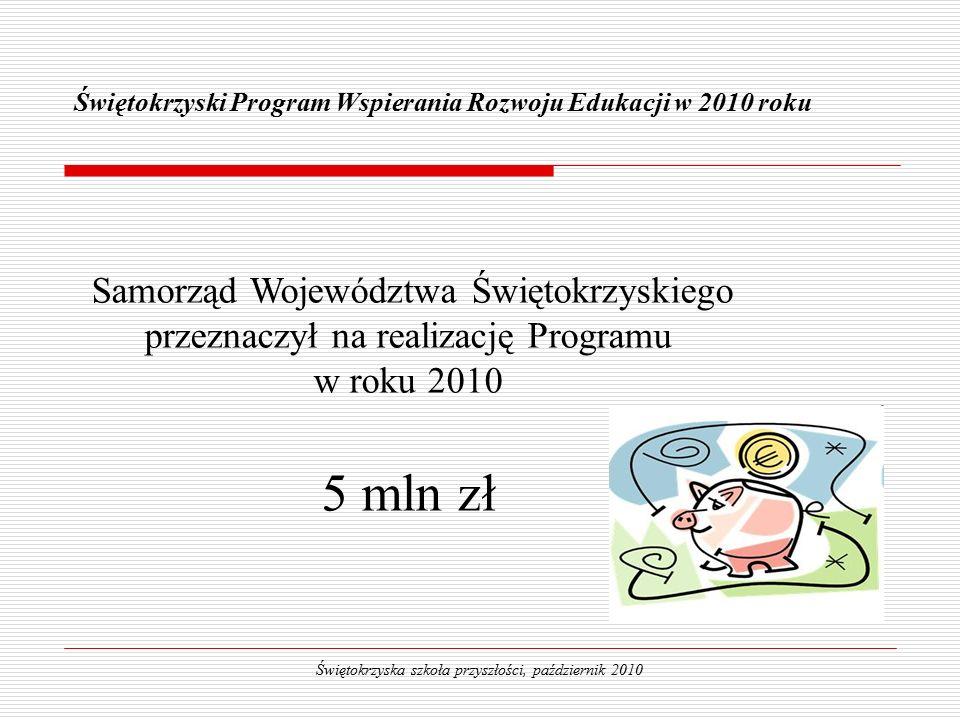 Świętokrzyski Program Wspierania Rozwoju Edukacji w 2010 roku Świętokrzyska szkoła przyszłości, październik 2010 Samorząd Województwa Świętokrzyskiego przeznaczył na realizację Programu w roku 2010 5 mln zł