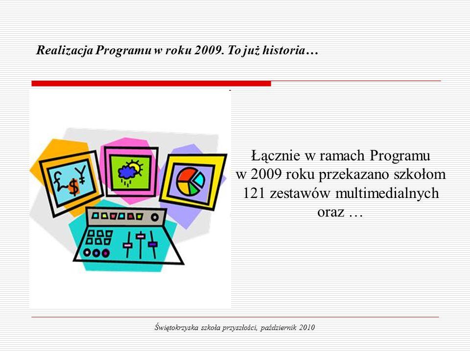 Łącznie w ramach Programu w 2009 roku przekazano szkołom 121 zestawów multimedialnych oraz … Realizacja Programu w roku 2009.