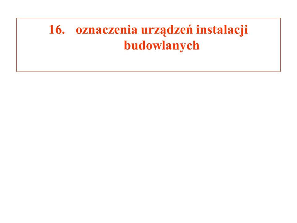 16.oznaczenia urządzeń instalacji budowlanych