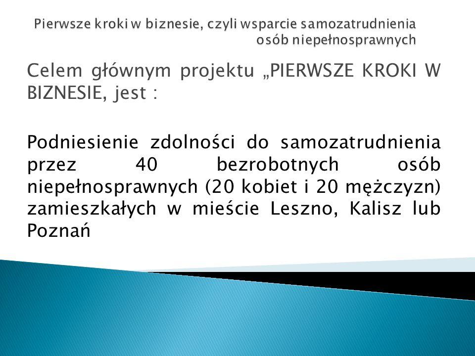 """Celem głównym projektu """"PIERWSZE KROKI W BIZNESIE, jest : Podniesienie zdolności do samozatrudnienia przez 40 bezrobotnych osób niepełnosprawnych (20 kobiet i 20 mężczyzn) zamieszkałych w mieście Leszno, Kalisz lub Poznań"""