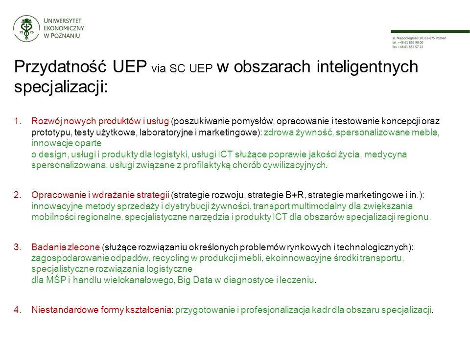 Przydatność UEP via SC UEP w obszarach inteligentnych specjalizacji: 1.Rozwój nowych produktów i usług (poszukiwanie pomysłów, opracowanie i testowanie koncepcji oraz prototypu, testy użytkowe, laboratoryjne i marketingowe): zdrowa żywność, spersonalizowane meble, innowacje oparte o design, usługi i produkty dla logistyki, usługi ICT służące poprawie jakości życia, medycyna spersonalizowana, usługi związane z profilaktyką chorób cywilizacyjnych.