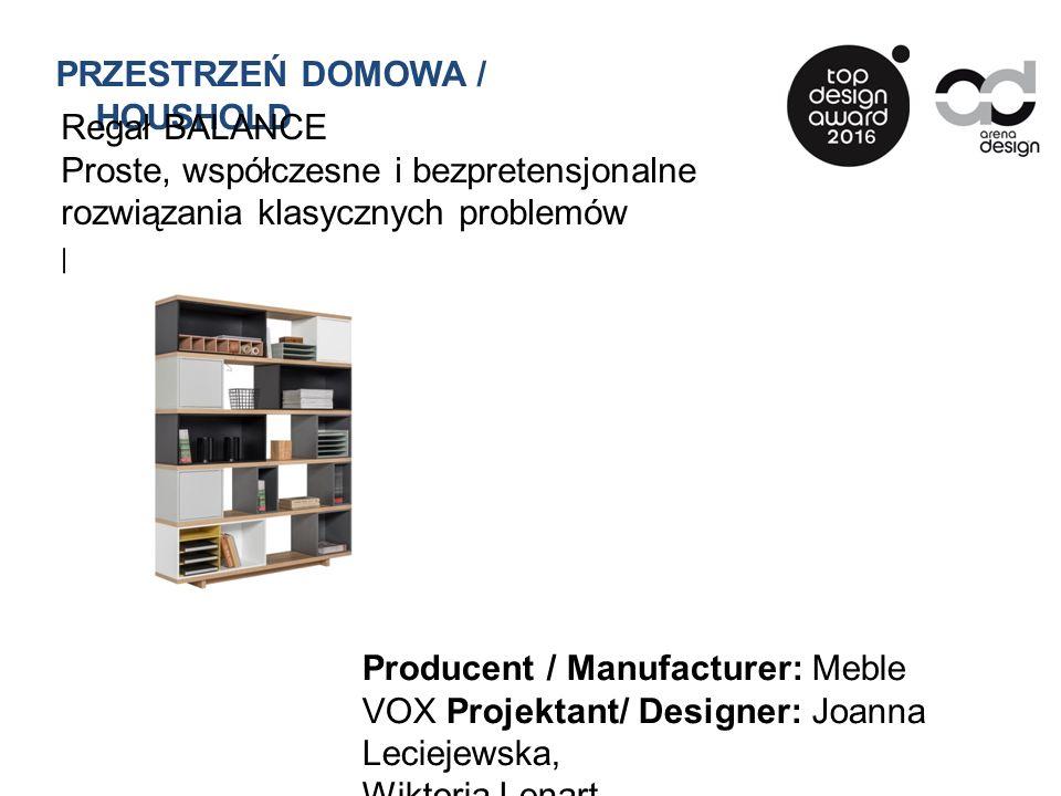 Regał BALANCE Proste, współczesne i bezpretensjonalne rozwiązania klasycznych problemów projektowych Producent / Manufacturer: Meble VOX Projektant/ Designer: Joanna Leciejewska, Wiktoria Lenart