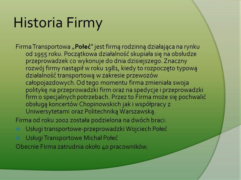 """Historia Firmy Firma Transportowa """"Połeć"""" jest firmą rodzinną działająca na rynku od 1955 roku. Początkowa działalność skupiała się na obsłudze przepr"""