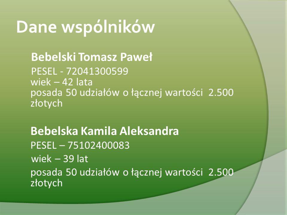 Dane wspólników Bebelski Tomasz Paweł PESEL - 72041300599 wiek – 42 lata posada 50 udziałów o łącznej wartości 2.500 złotych Bebelska Kamila Aleksandr
