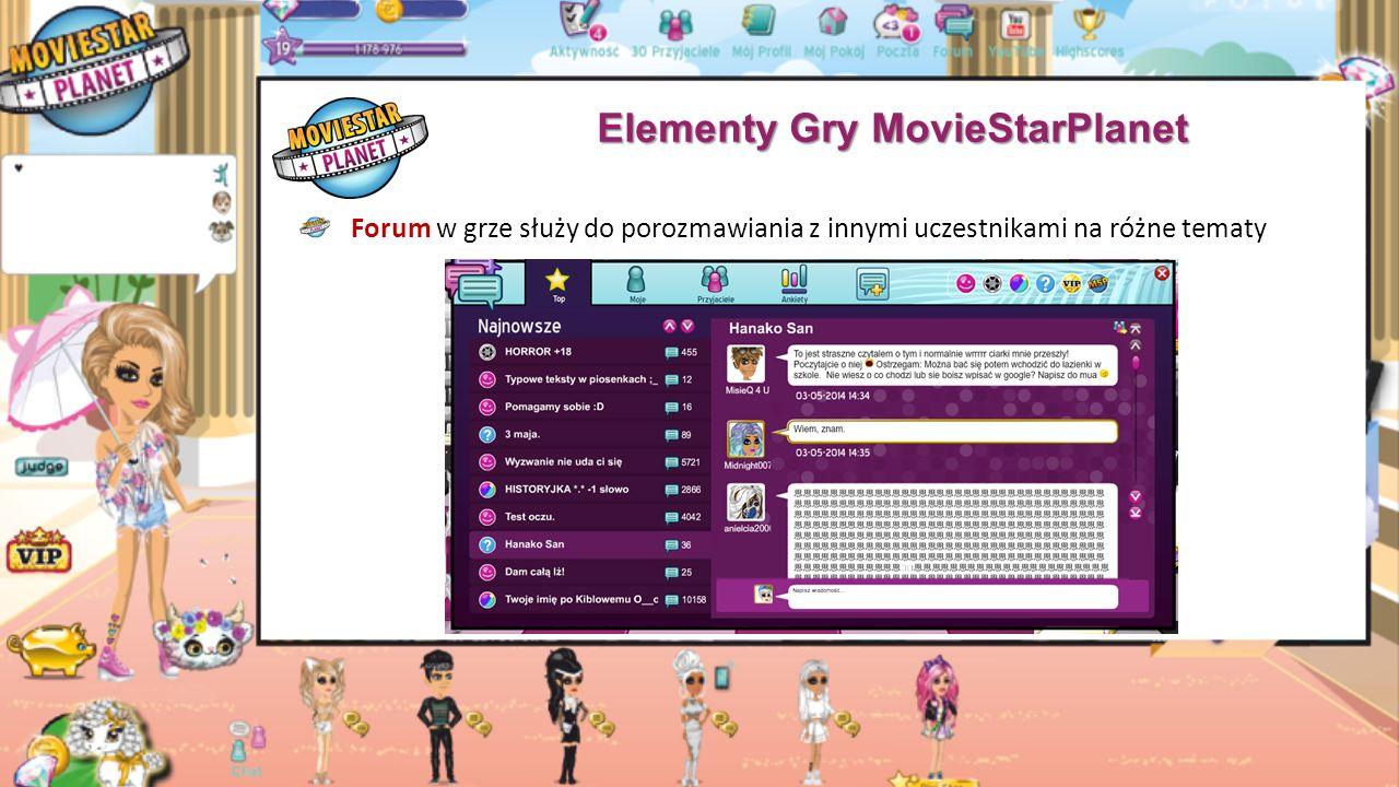 """Elementy Gry MovieStarPlanet """"Cisza Nocna w grze trwa w czasie letnim od godziny 00:00 w nocy do 5:00 nad ranem a w czasie zimowym od godziny 23:00 w nocy do 4:00 nad ranem w czasie trwania ciszy nie można korzystać w pełni z gry: nie można wejść na pocztę, do chatroomów ani do pokojów (nawet swojego własnego) podczas ciszy, możemy się komunikować z innymi poprzez forum"""