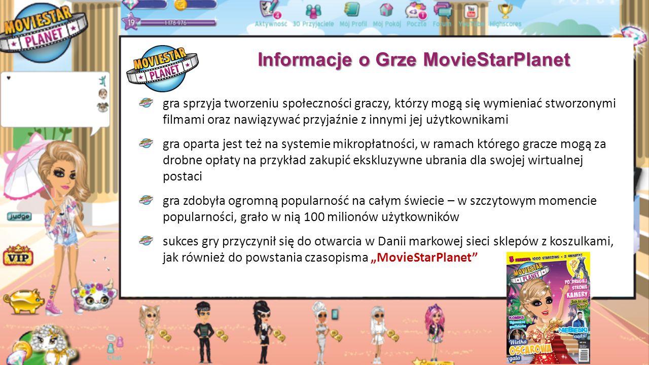 """Informacje o Grze MovieStarPlanet gra sprzyja tworzeniu społeczności graczy, którzy mogą się wymieniać stworzonymi filmami oraz nawiązywać przyjaźnie z innymi jej użytkownikami gra oparta jest też na systemie mikropłatności, w ramach którego gracze mogą za drobne opłaty na przykład zakupić ekskluzywne ubrania dla swojej wirtualnej postaci gra zdobyła ogromną popularność na całym świecie – w szczytowym momencie popularności, grało w nią 100 milionów użytkowników sukces gry przyczynił się do otwarcia w Danii markowej sieci sklepów z koszulkami, jak również do powstania czasopisma """"MovieStarPlanet"""