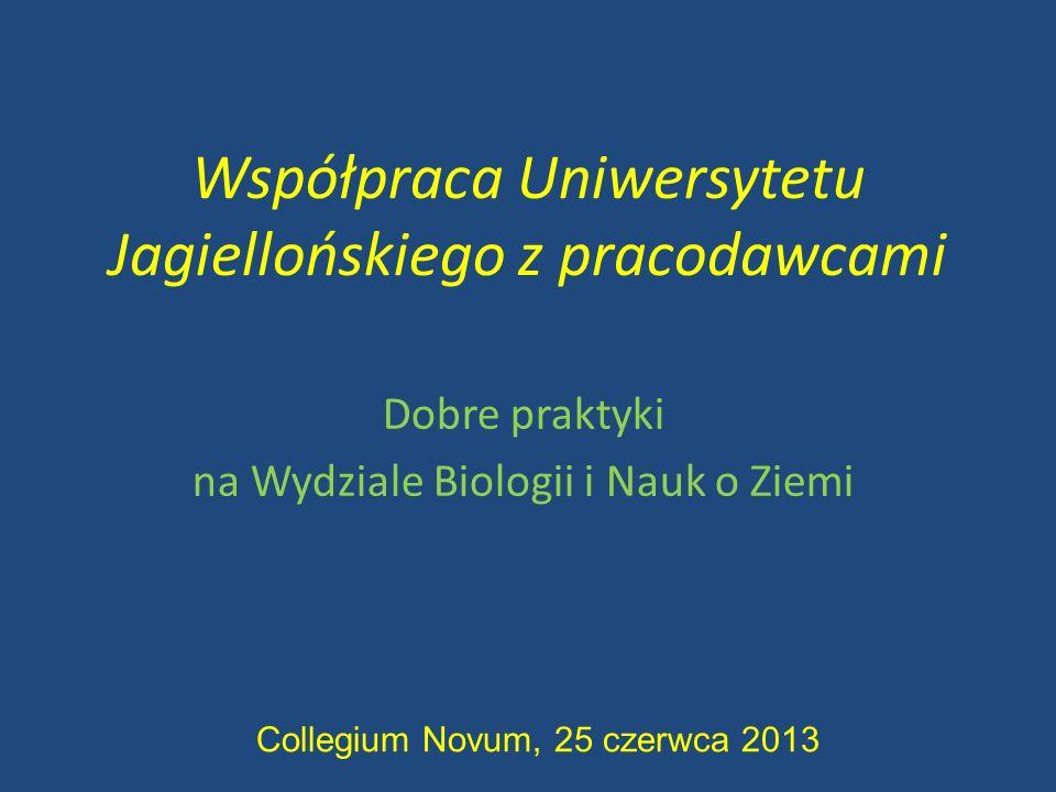 Współpraca Uniwersytetu Jagiellońskiego z pracodawcami Dobre praktyki na Wydziale Biologii i Nauk o Ziemi Collegium Novum, 25 czerwca 2013