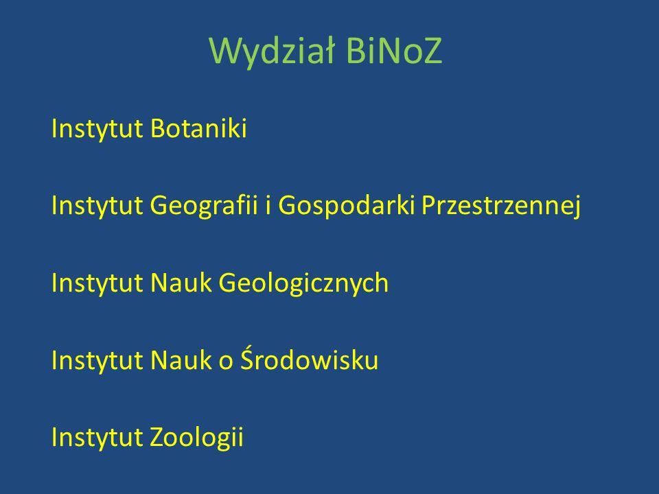 Instytut Botaniki Instytut Geografii i Gospodarki Przestrzennej Instytut Nauk Geologicznych Instytut Nauk o Środowisku Instytut Zoologii Wydział BiNoZ