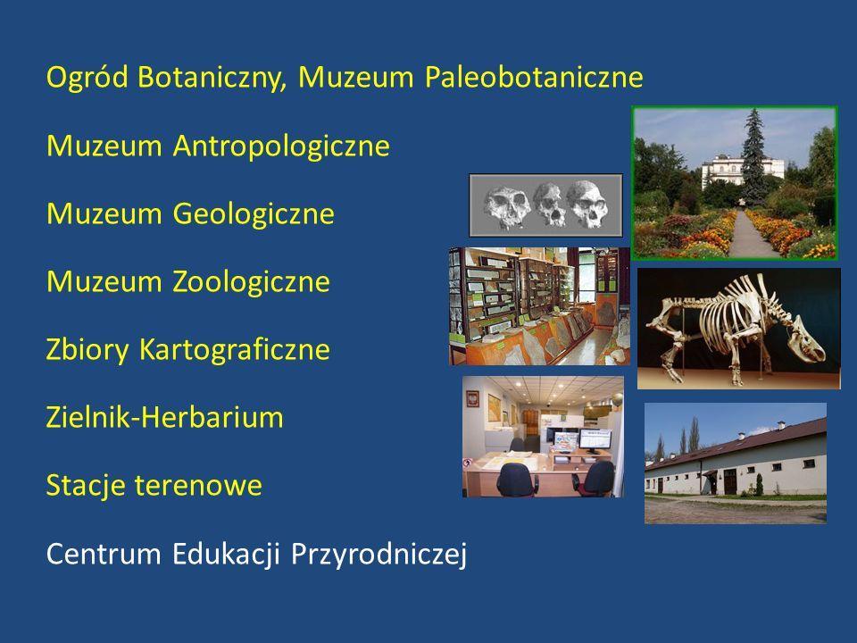 Ogród Botaniczny, Muzeum Paleobotaniczne Muzeum Antropologiczne Muzeum Geologiczne Muzeum Zoologiczne Zbiory Kartograficzne Zielnik-Herbarium Stacje terenowe Centrum Edukacji Przyrodniczej