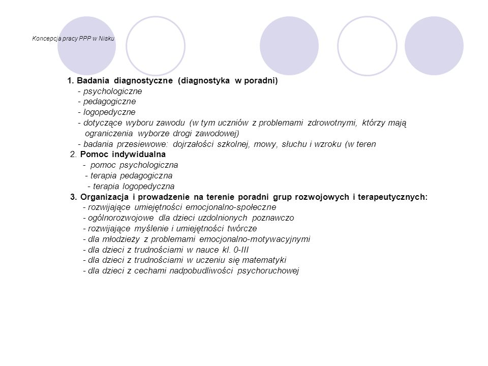 Koncepcja pracy PPP w Nisku 1. Badania diagnostyczne (diagnostyka w poradni) - psychologiczne - pedagogiczne - logopedyczne - dotyczące wyboru zawodu