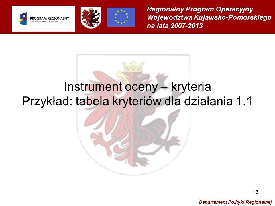 Regionalny Program Operacyjny Województwa Kujawsko-Pomorskiego na lata 2007-2013 Departament Polityki Regionalnej 16 Instrument oceny – kryteria Przykład: tabela kryteriów dla działania 1.1