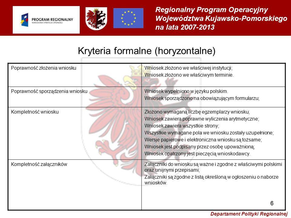 Regionalny Program Operacyjny Województwa Kujawsko-Pomorskiego na lata 2007-2013 Departament Polityki Regionalnej 6 Poprawność złożenia wnioskuWniosek złożono we właściwej instytucji; Wniosek złożono we właściwym terminie.