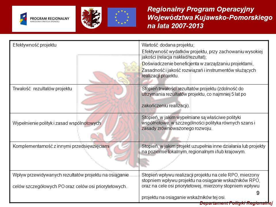 Regionalny Program Operacyjny Województwa Kujawsko-Pomorskiego na lata 2007-2013 Departament Polityki Regionalnej 10 Kryteria specyficzne dla poszczególnych działań
