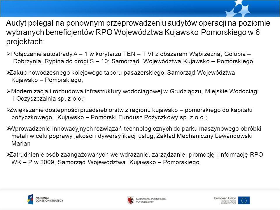 Audyt polegał na ponownym przeprowadzeniu audytów operacji na poziomie wybranych beneficjentów RPO Województwa Kujawsko-Pomorskiego w 6 projektach: 